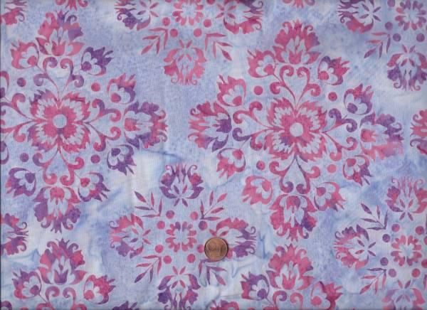 Batik Blumenornament flieder-pink