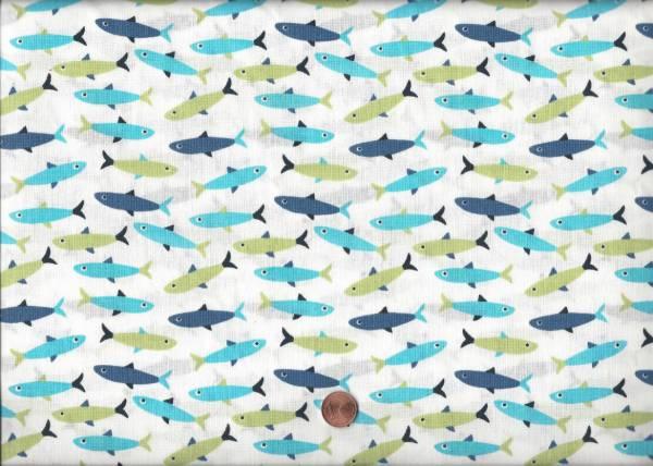 Druck weiß-türkis-grün Fische