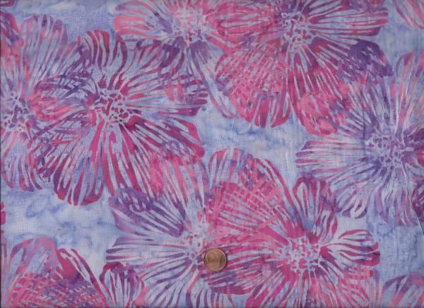 Batik gr. Blumen flieder-pink