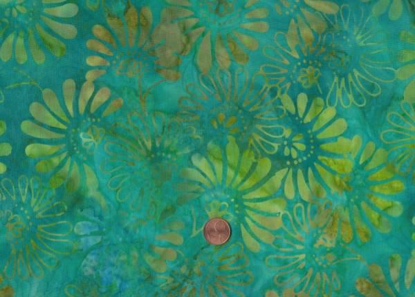 Batik Floral petrol-grün