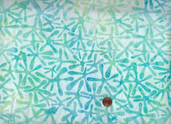 Batik Blätter cream-türkis