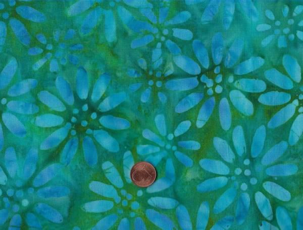 Batik Blumen grün-blau-türkis