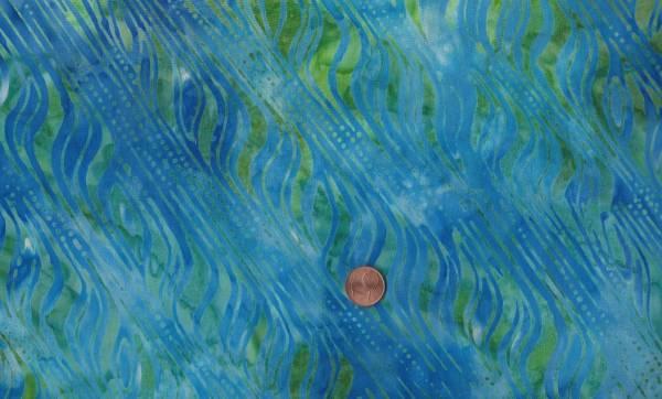 Batik Wellen blau-grün