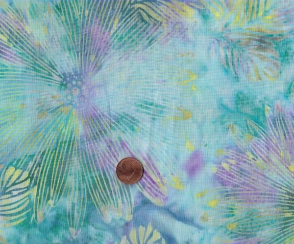 Batik Blüten türkis-lila-gelb